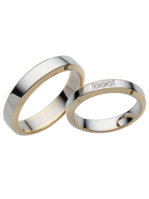 Couple d'alliances Bicolore 18k