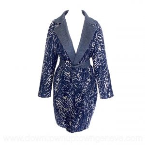 Weekend Max Mara reversible coat in blue & big cat print wool blend