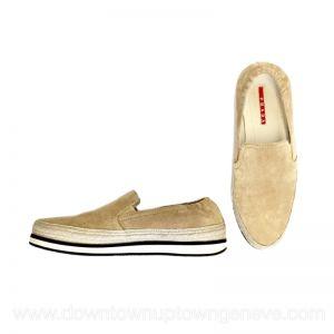 Prada St Tropez espadrille loafers in beige suede