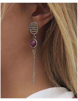 Boucles d'oreilles Fenêtre de Spondyllus Violet