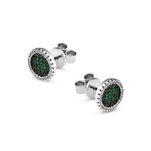 Boucles d'oreilles Marylin en argent 925/1000 rhodié, serties de cubics zirconiums verts.