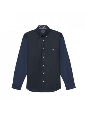 Chemise bleu marine bicolore en piqué de coton avec broderie au dos