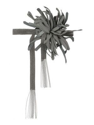 Collier ras du cou en strass avec fleur en cuir Beatrice