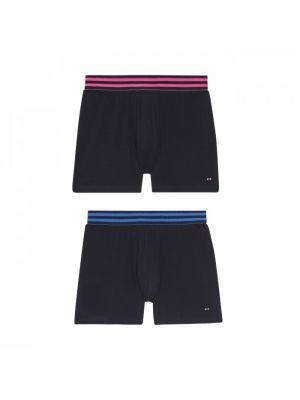 Pack de 2 boxers bleu marine en coton stretch avec taille rayée