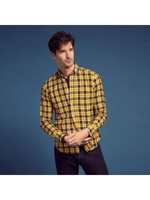 Chemise jaune slim fit en twill à carreaux