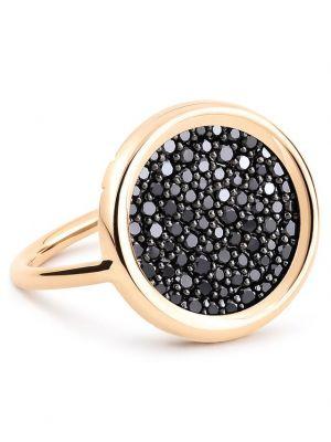 Bague en or rose Black Diamond Disc Ring