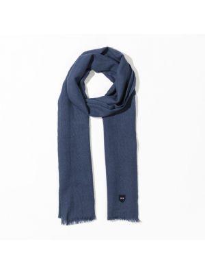 Écharpe bleue rectangulaire en laine vierge unie