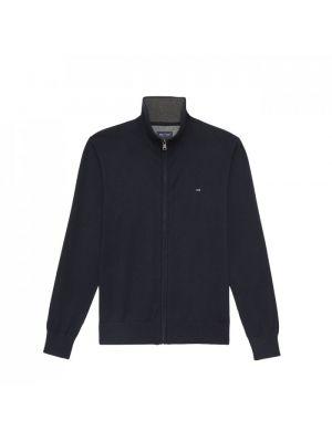 Cardigan bleu marine zippée en coton et cachemire