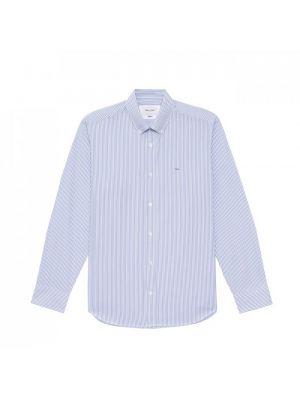 Chemise bleu ciel en popeline de coton à rayures
