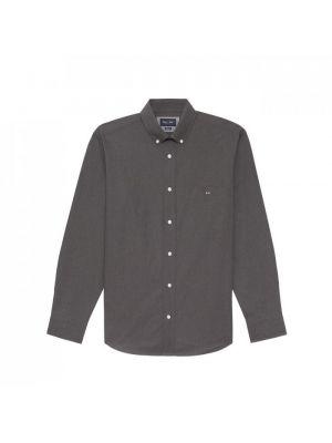 Chemise gris foncé en coton uni avec coudières contrastées