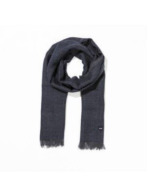 Écharpe réversible bleu marine en drap de laine