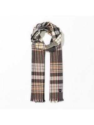 Écharpe grise rectangulaire en coton à carreaux