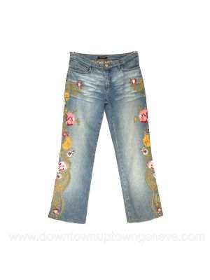 Roberto Cavalli jeans with flower embroidery and gold thread