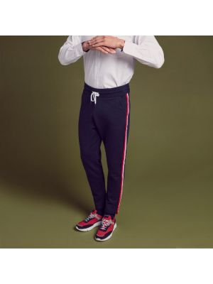 Jogging bleu marine regular fit en molleton à bandes tricolores