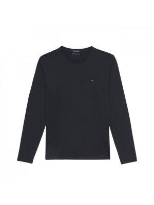 T-shirt bleu marine à manches longues en jersey de coton