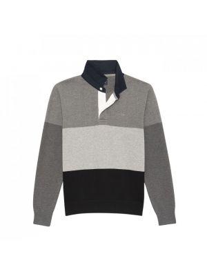 Pull color-block gris à col maillot en coton