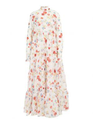 Robe longue en soie fleurie