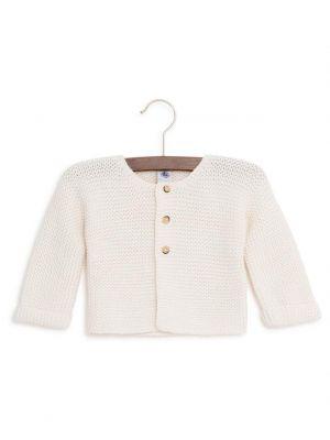 Cardigan crocheté en coton et laine