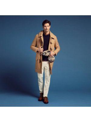 Duffle-coat beige en drap de laine avec capuche amovible