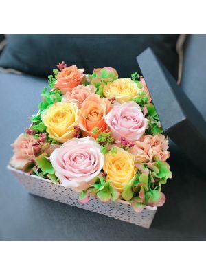 boîte de roses pastel - Fleuriot