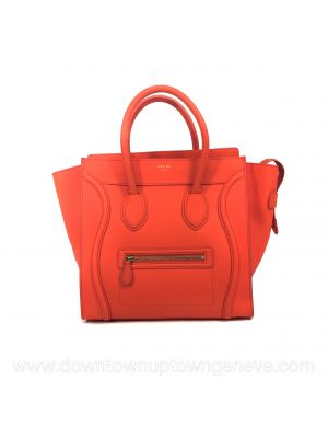 Céline Luggage PM bag in fluro orange leather