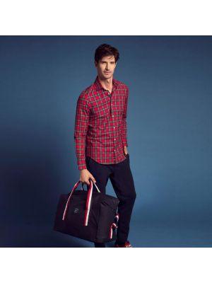 Chemise rouge foncé slim fit en twill de coton à carreaux