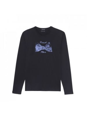 T-shirt bleu marine à manches longues en coton imprimé nœud papillon