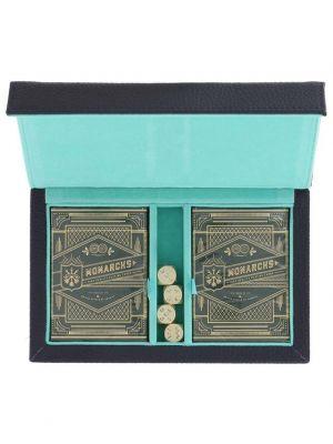 Coffret de jeux de cartes en cuir