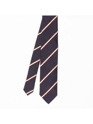 Cravate bleu marine en soie à rayures bicolores bordeaux