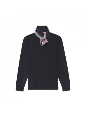 Maillot bleu marine en coton uni avec détails tricolores