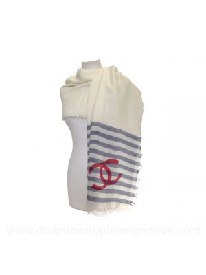 Chanel shawl in blue and red stripes on cream silk blend