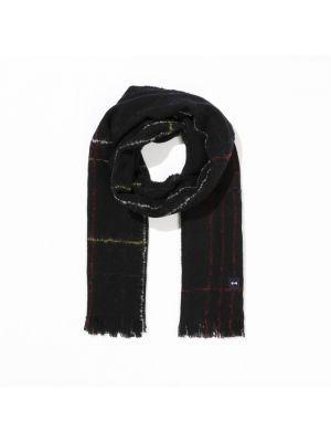 Écharpe noire rectangulaire en laine mélangée à carreaux fins
