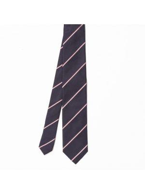 Cravate bleu marine en soie à rayures fines