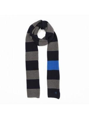 Écharpe rectangulaire cerclée bleue en coton