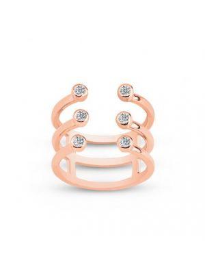Bague en argent doré rose 925/1000, avec 3 anneaux sertis de cubics zirconiums.