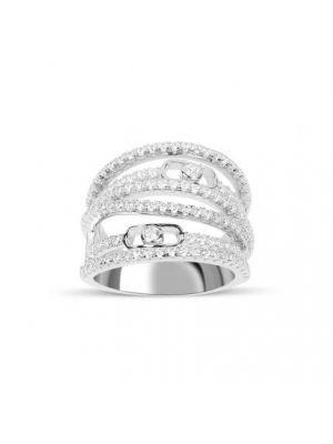 Bague Marylin en argent 925/1000 rhodié, multiples anneaux sertis de cubics zirconiums.