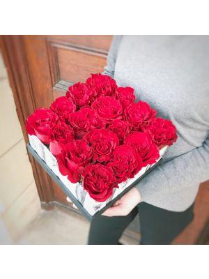 boîte de roses rouges - Fleuriot