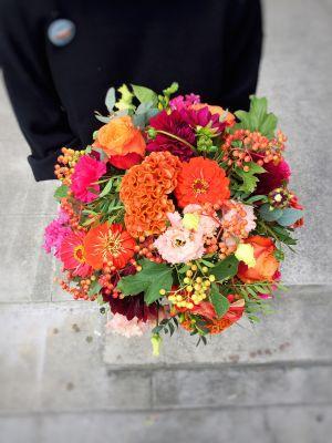 bouquet rond coloré automnal - Fleuriot