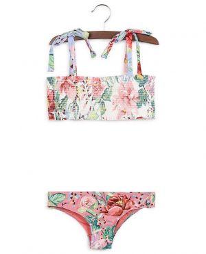 Bikini bandeau smocké imprimé fleurs Bellitude