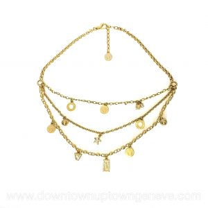 Versace collier in goldtone metal with crystals and medallions