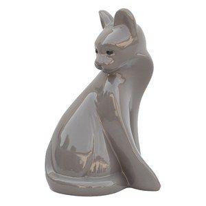 Deco glazed chat l22.5cm w19cm h36.5cm gris