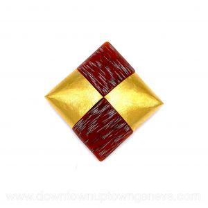 YSL vintage brooch in square gold-tone metal & amber resin