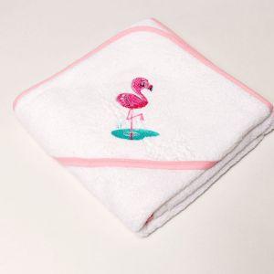 Linge de bain pour bébé en coton peigné avec flamant rose brodé