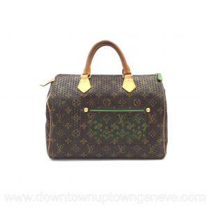 Louis Vuitton Speedy 30 L.E. perforated with green in brown monogram