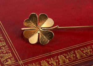 Marque-pages laiton et or - trèfle à quatre feuilles