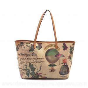 Etro Voyage du Monde tote bag in multicolour print canvas