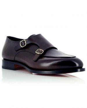 Chaussures à double boucle en cuir poli