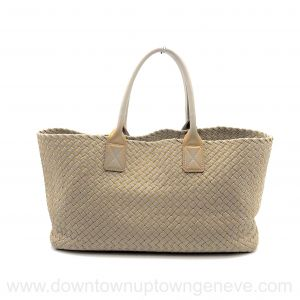 Bottega Veneta PM cabat in intrecciato nappa taupe with gold edging