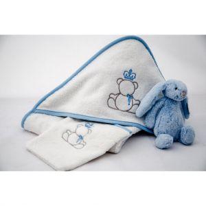 Linge de bain pour bébé en coton peigné avec ourson teddy brodé