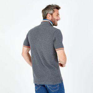 Polo gris en coton avec détails fluo